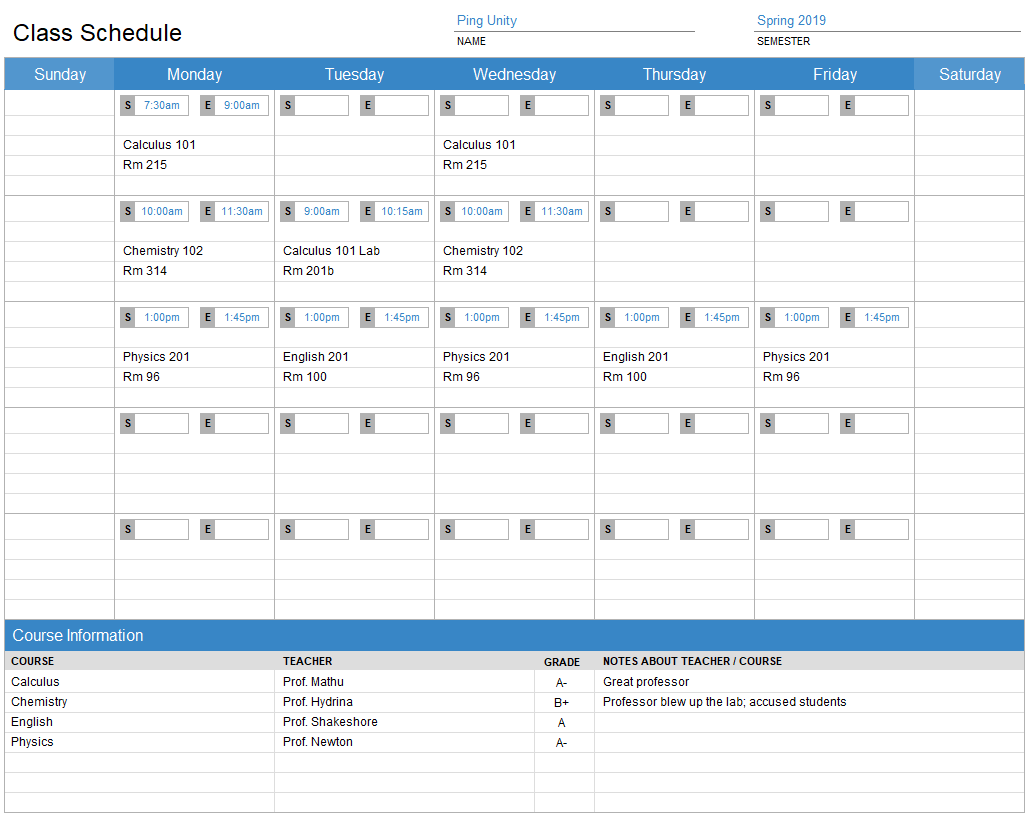 Class Schedule Template With Course Info Section For Excel Excel Effects