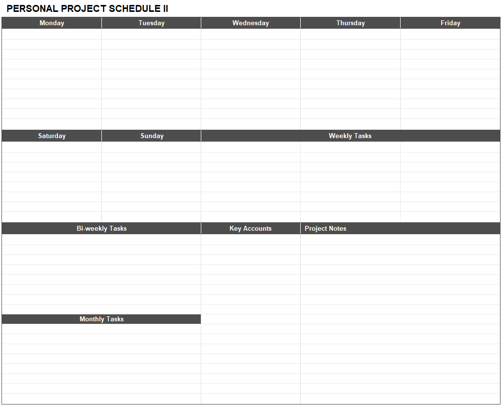 Personal project schedule template for Excel.