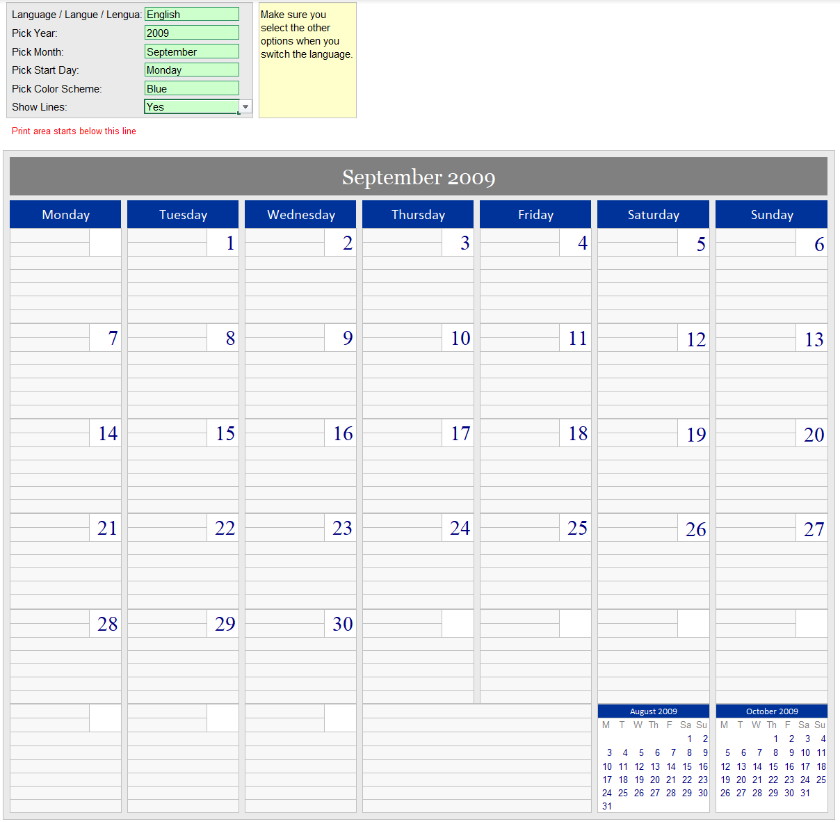 Ultimate monthly calendar
