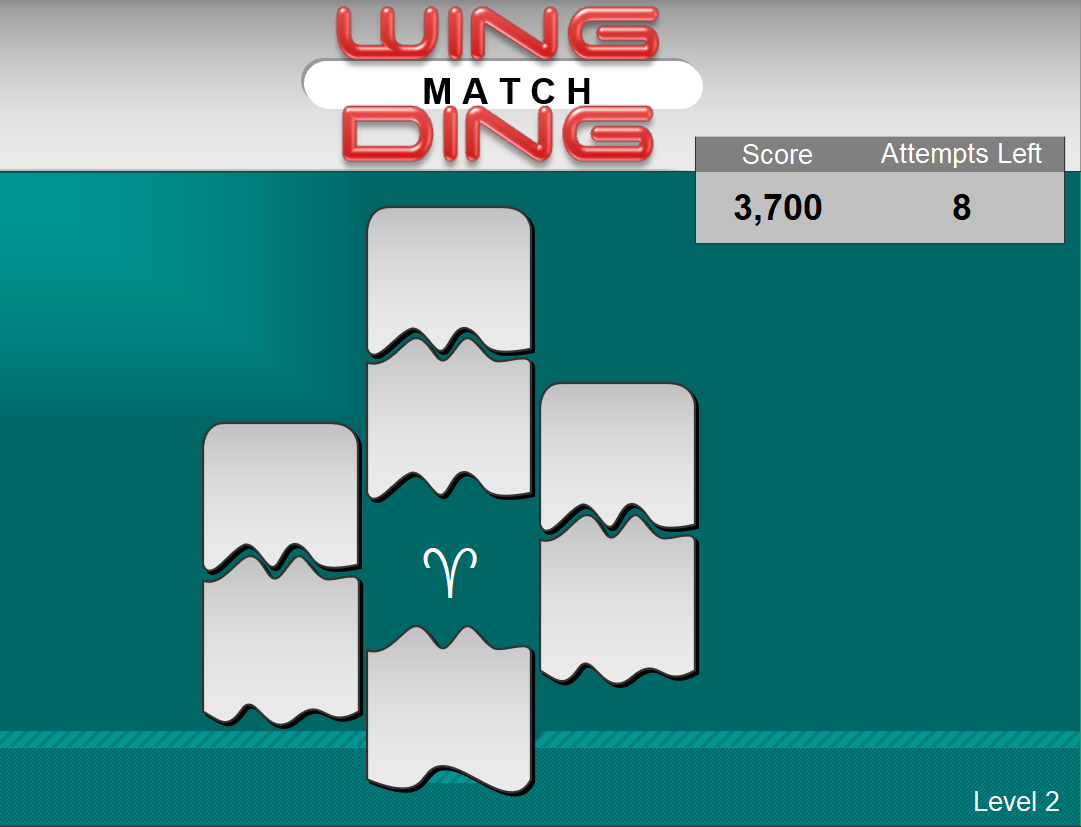 Second level of Wingding Match