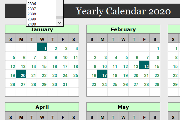 Dynamic yearly calendar for Microsoft Excel