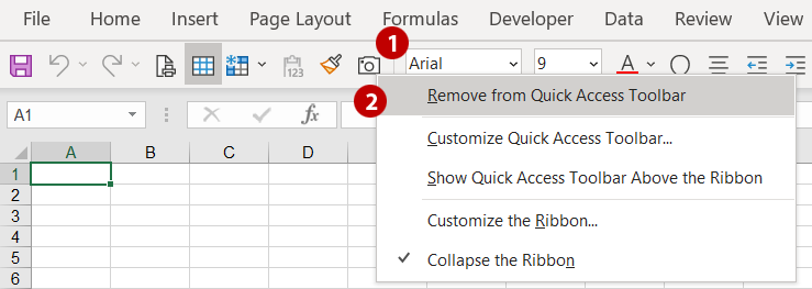 Remove a command from the Quick Access Toolbar.