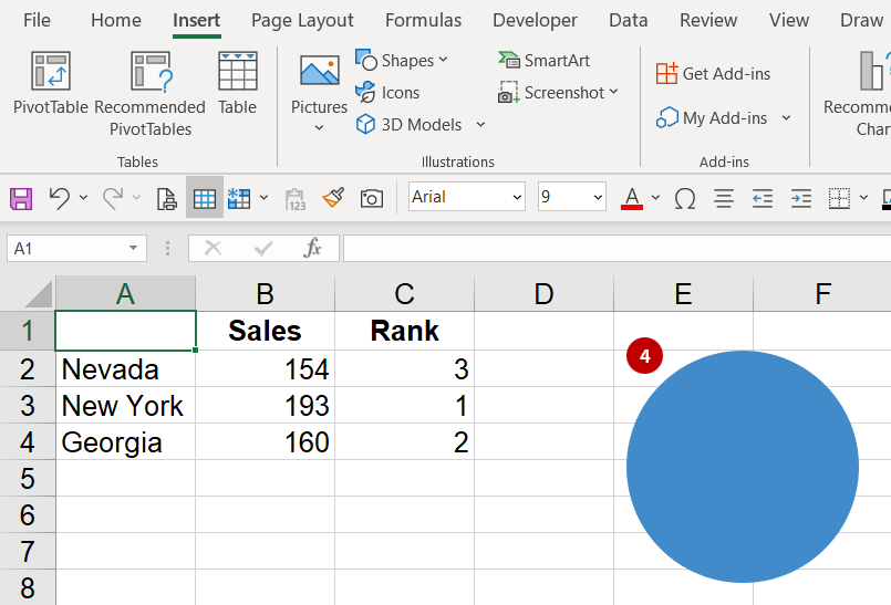 Shape inside of Excel
