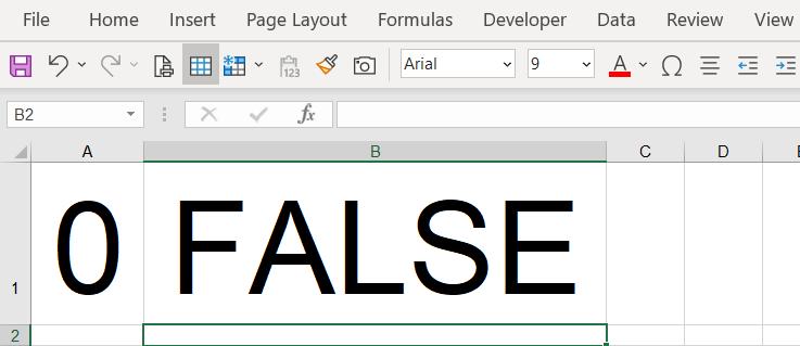 0 equals false in Excel