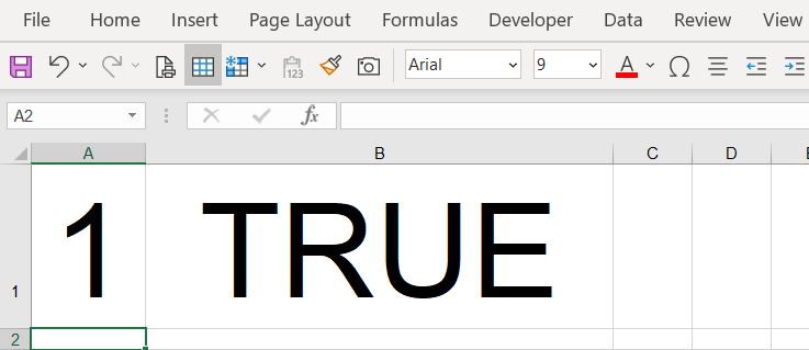 1 equals true in Excel