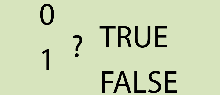 The numbers one and zero are also true and false or not