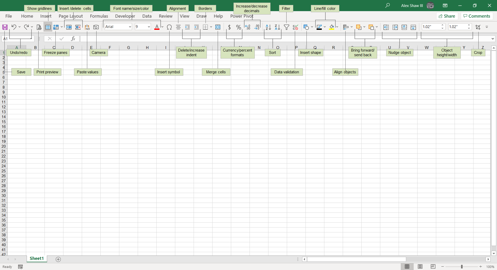 Sample Quick Access Toolbar from Excel