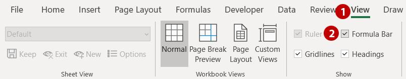 Steps 1 and 2 - show formula toolbar
