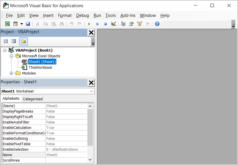 Open the Visual Basic for Applications editor in Excel