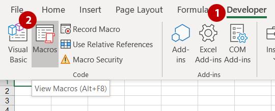Steps 1 and 2 - Show macro dialog box