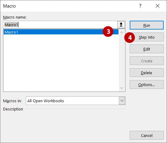Steps 3 and 4 - Macro dialog box