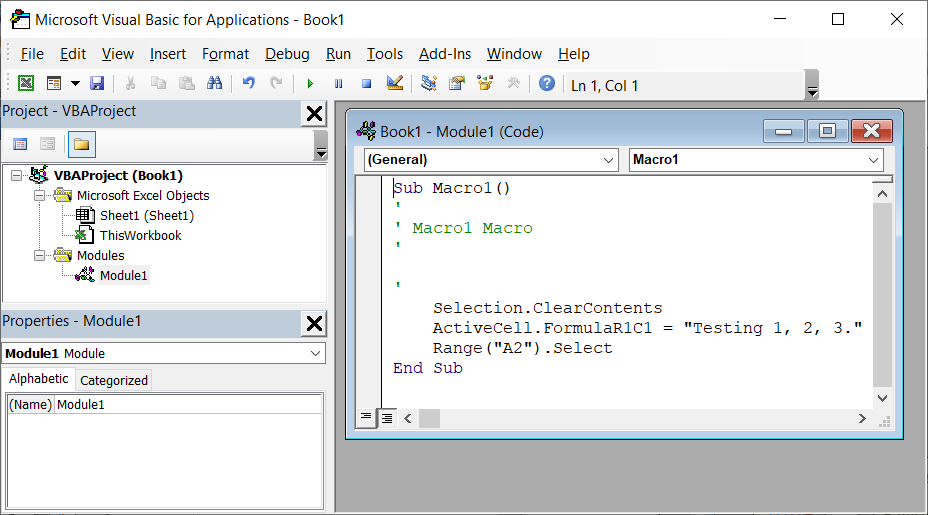 Success! The Visual Basic for Applications window is now open