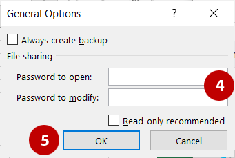 General options from the Save As dialog box