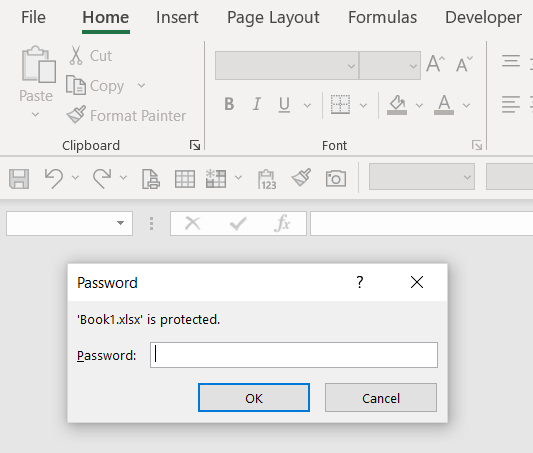 Password prompt upon opening an Office document.