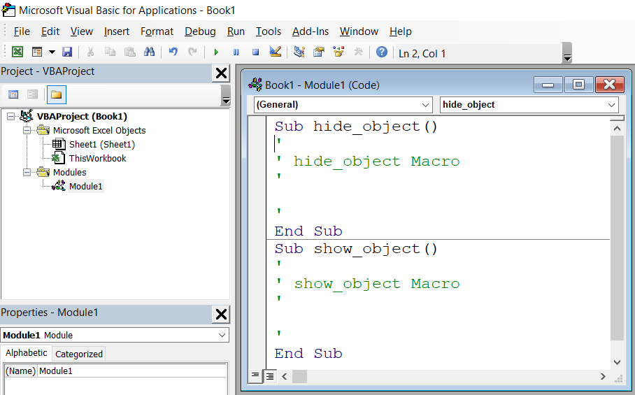 Visual Basic for Applications editor
