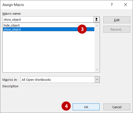 Assign macro dialog box